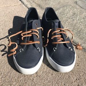 Navy blue Sperry deck shoes